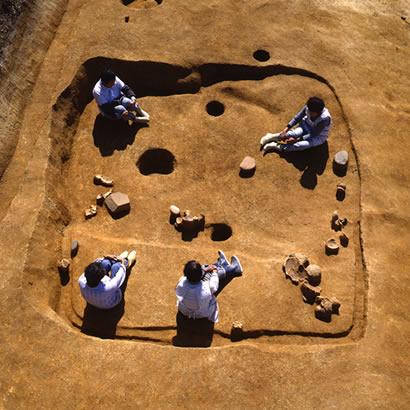 Site archéologique de Shiotsubonishi : apercu du site des fouilles (propriété du Musée d'Archéologie de la Préfecture de Hyogo)